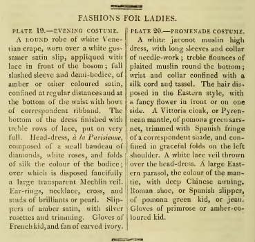 """Fashions for Ladies."" Ackermann's September 1813"