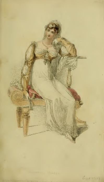 "Plate 19: ""Evening Costume."" Ackermann's September 1813"