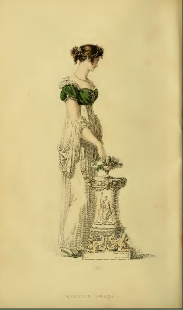 Ackermanns fashion plate 16 March 1814: Evening Gown