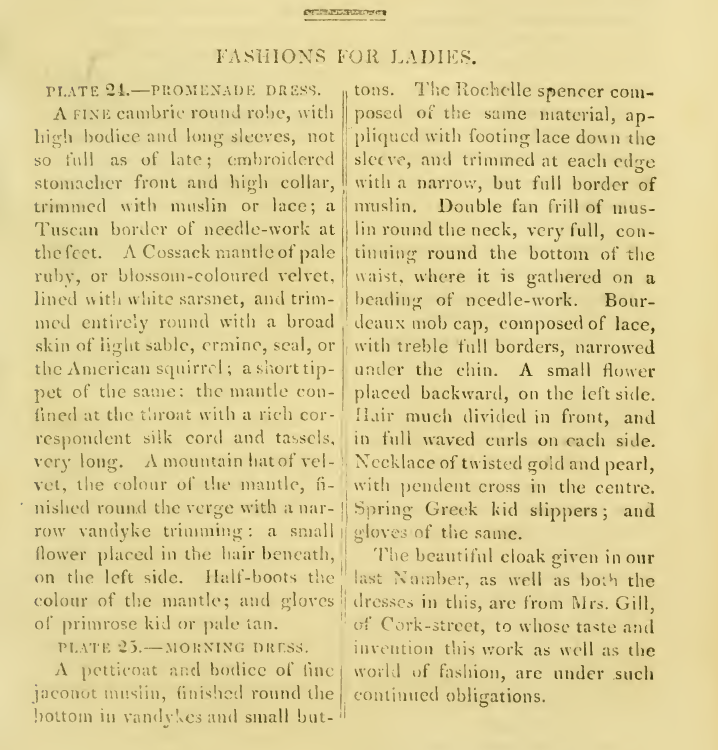 Ackermanns Fashion plates April 1814 text