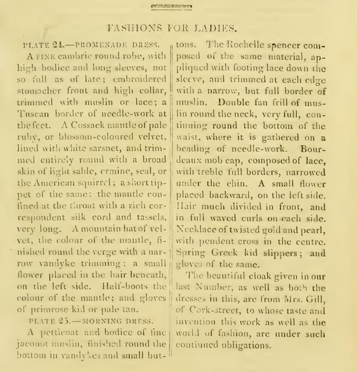 Ackermanns Fashion plates April 1814 text