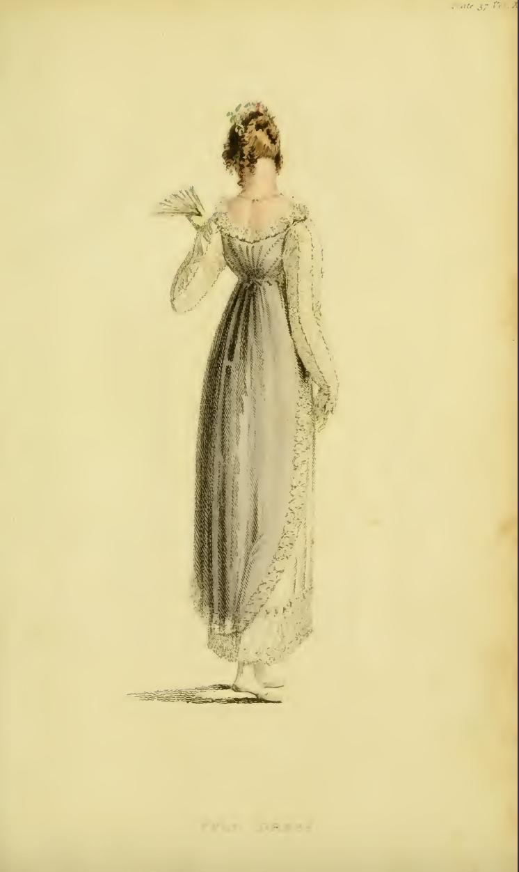 """Ackermann's June 1814, plate 37: """"Full Dress"""""""