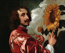 "Painting: ""Self-Portrait with a Sunflower"" by Antoon van Dyke. After 1633"