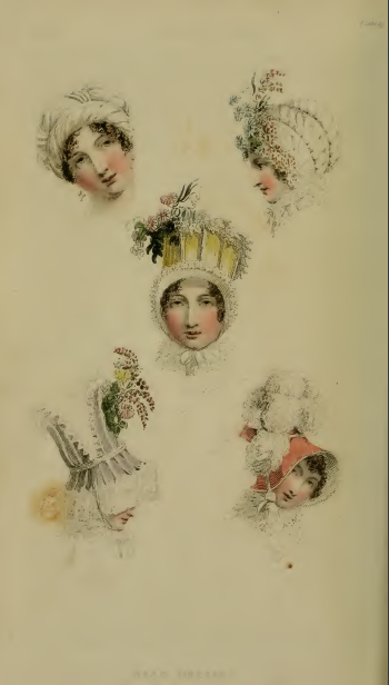 Ackermann's fashion plate 29, December 1814: Head-Dresses