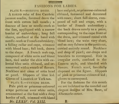 Ackermann's Fashion Plates February 1815, text
