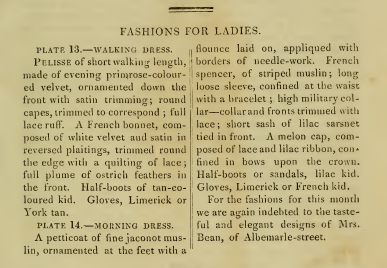 Ackermann's Fashion Plates March 1815, text