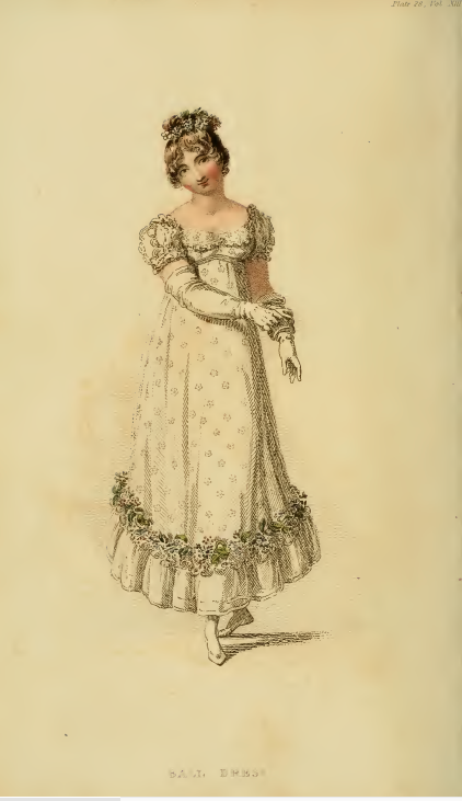 Ackermann's Fashion Plates June 1815, plate 28: Ball Dress