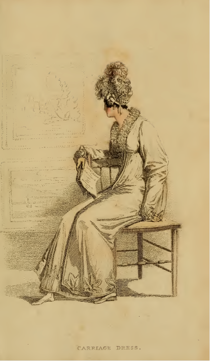 Ackermann's fashion plates June 1815, plate 29: Carriage Dress