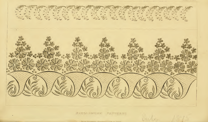 Ackermann's July 1815 Needlework patterns