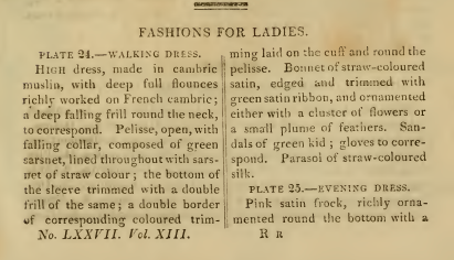 Ackermann's Fashion Plates May 1815: descriptions