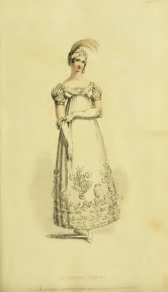 Ackermann's Fashion Plates, January 1816, plate 5: Evening Dress