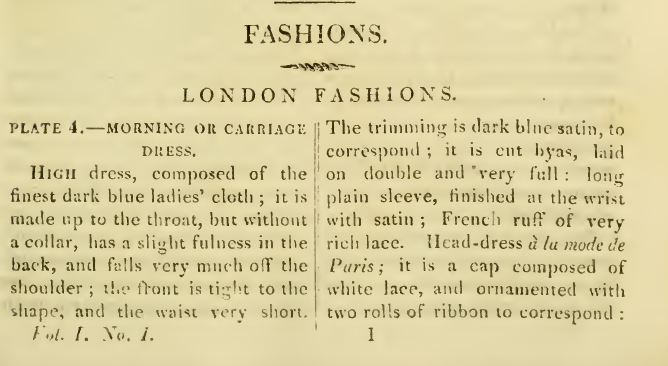 Ackermann's Fashion plates, January 1816: descriptions