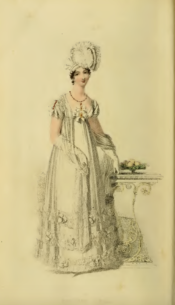 Ackermann's May 1816, plate 28: Evening Dress