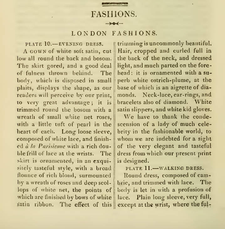 Ackermann's Fashion Plates August 1816 descriptions