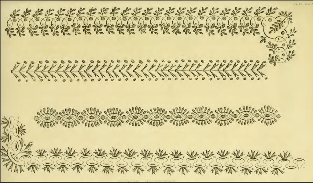 Ackermann's August 1816 needlework patterns