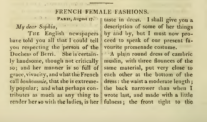 Ackermann's September 1816 French Female Fashions description