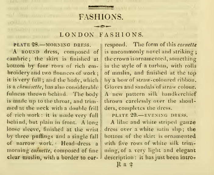 Ackermann's fashion plates November 1816: descriptive copy