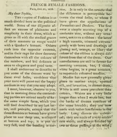Ackermann's January 1817: Parisian fashions description