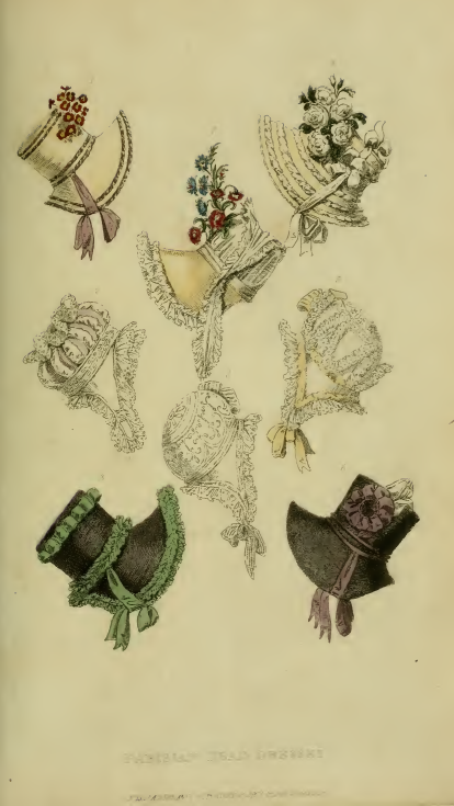 Ackermann's January 1817, plate 4: Parisian Head-Dresses